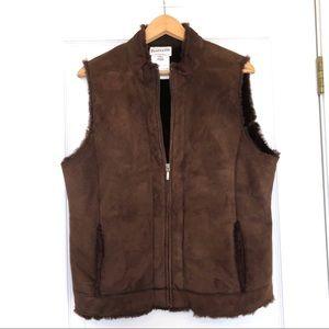 Pendleton Brown Leather and Lamb Fur Vest Size L